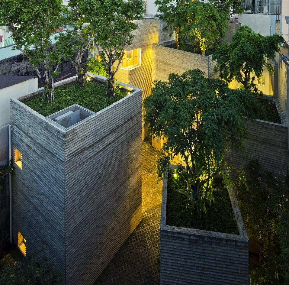 Dům pro stromy má velmi netradiční kompozici.